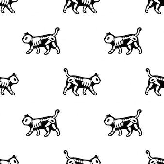 Gato de patrones sin fisuras halloween gatito hueso esqueleto cartoon