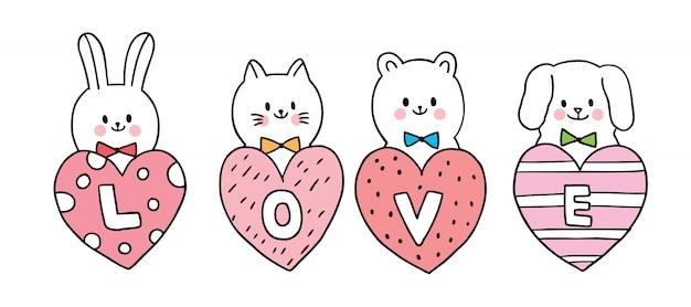 Gato y perro y conejo y oso y corazones grandes