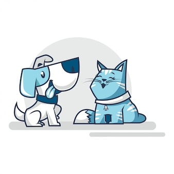 Gato y perro sentados juntos felizmente