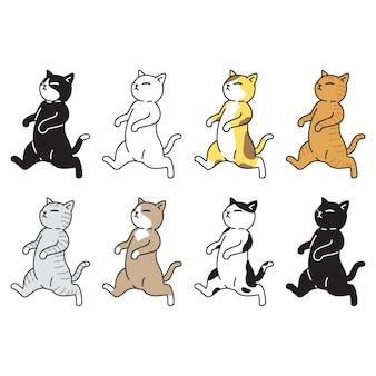 Gato personaje de dibujos animados calicó gatito caminando mascota