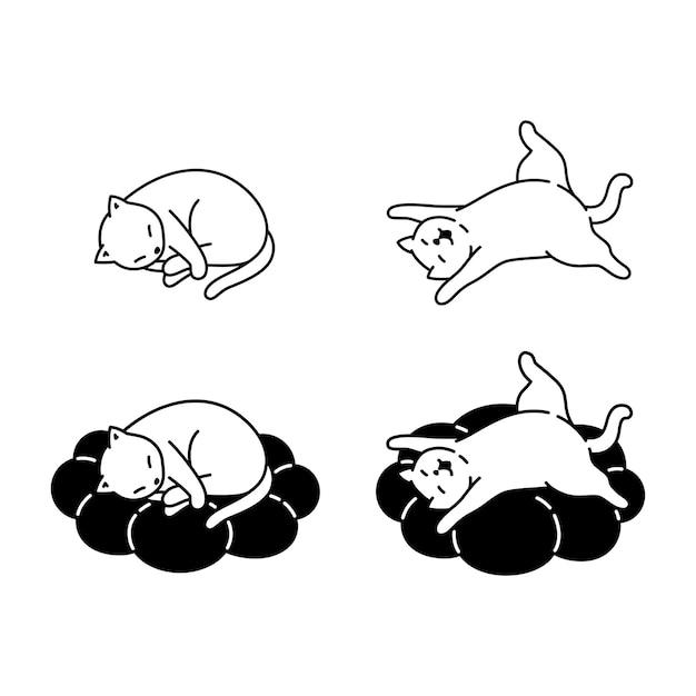Gato personaje de dibujos animados calicó gatito durmiendo almohada mascota