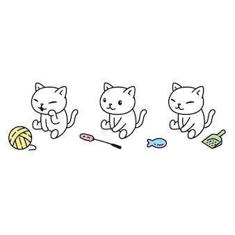 Gato personaje de dibujos animados calicó gatito juguete para mascotas bola de hilo