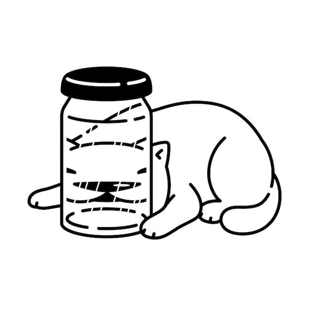 Gato personaje de dibujos animados calicó gatito mascota botella