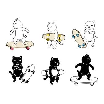 Gato personaje de dibujos animados calicó gatito patineta mascota