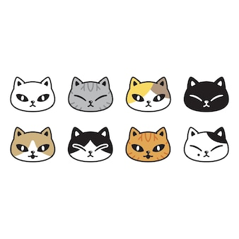 Gato personaje de dibujos animados calicó gatito raza mascota cabeza cara