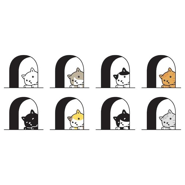 Gato personaje de dibujos animados calicó gatito ventana mascota