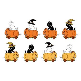 Gato personaje dibujos animados gatito calabaza halloween