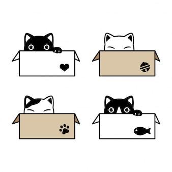 Gato personaje de dibujos animados gatito calico caja de papel