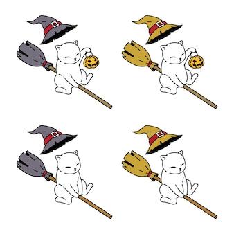 Gato personaje de dibujos animados halloween bruja escoba calabaza gatito dibujos animados