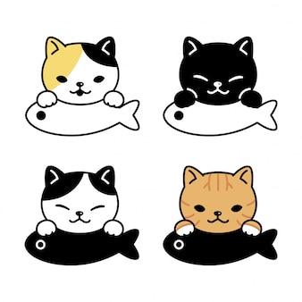 Gato personaje gatito calico pescado ilustración de dibujos animados