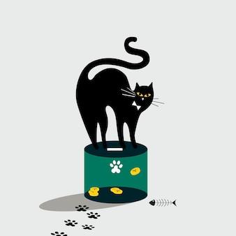 Gato de pie en la caja de donación