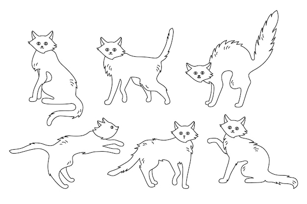 Gato poses activas negro garabato conjunto dibujos animados gatito lindo o aterrador gatos delgados halloween gracioso