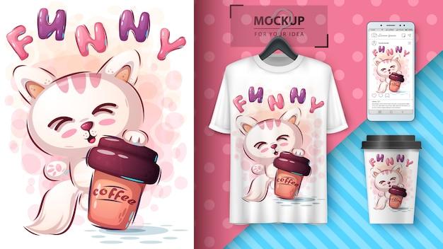 Gato con póster de café y merchandising