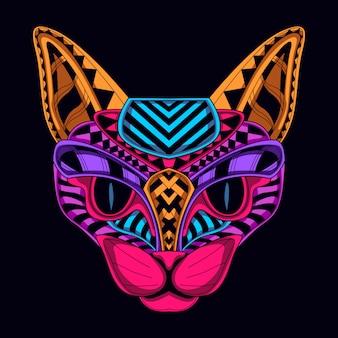 Gato retro del color del resplandor
