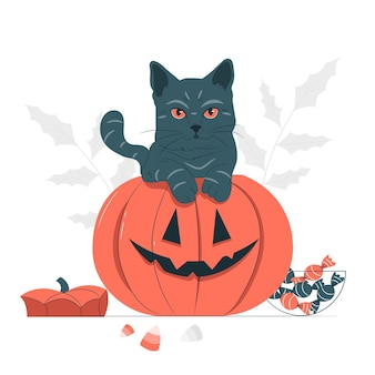 Gato saliendo de una ilustración de concepto de calabaza
