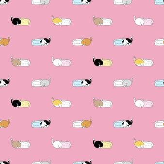 Gato, seamless, patrón, calicó, gatito, bolsa de compras