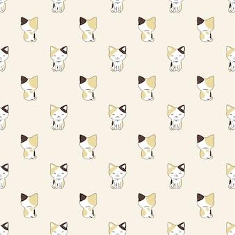 Gato, seamless, patrón, caricatura, calicó, gatito, ilustración
