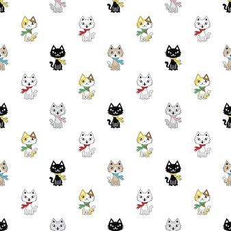 Gato, seamless, patrón, clico, gatito