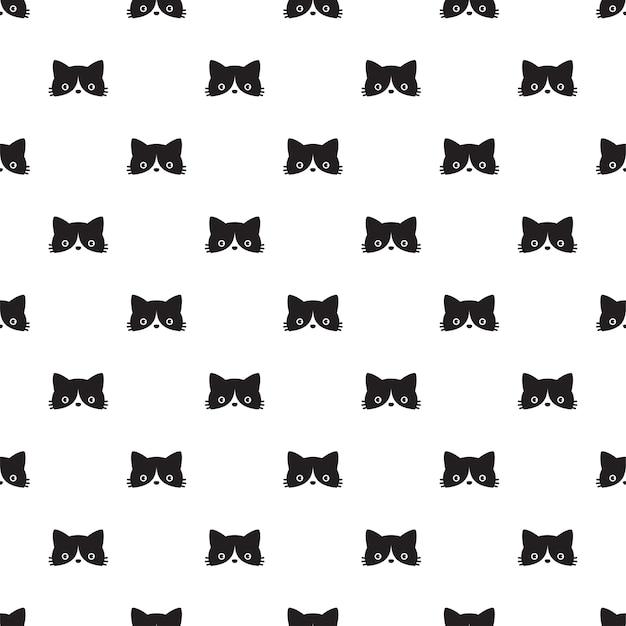 Gato, seamless, patrón, gatito, cabeza, cara, caricatura, carácter