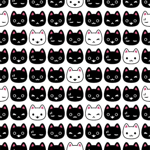 Gato, seamless, patrón, gatito, cabeza, caricatura, carácter