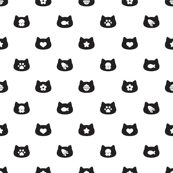 Gato, seamless, patrón, gatito, calicó, cabeza, caricatura