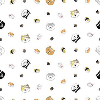 Gato, seamless, patrón, gatito, calicó, chef, sushi, japón, comida