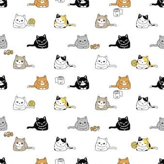 Gato, seamless, patrón, gatito, calicó, mascota, caricatura
