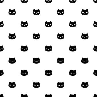 Gato, seamless, patrón, gatito, cara, cabeza, caricatura