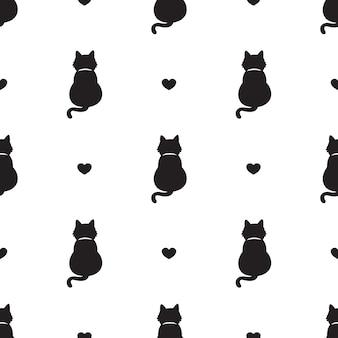 Gato, seamless, patrón, gatito, corazón, valentine, caricatura