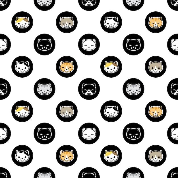 Gato, seamless, patrón, gatito, lunares, caricatura, carácter