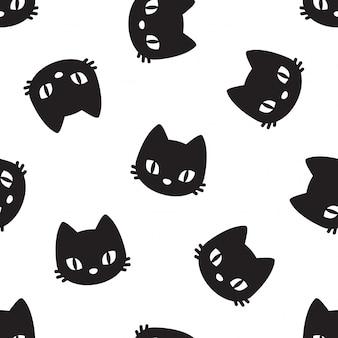 Gato, seamless, patrón, gatito, mascota, caricatura