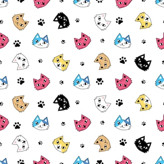 Gato, seamless, patrón, gatito, pata, huella
