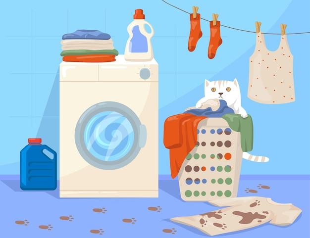 Gato sentado en la ilustración de dibujos animados de canasta de lavandería