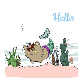 Gato sirena de dibujos animados lindo con cuerno de unicornio nadando en el mar con animales marinos.