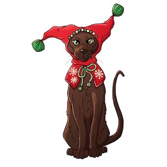 Gato en un sombrero de navidad. personaje animado. animal domestico.