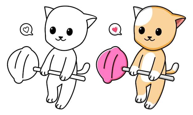 Gato sosteniendo piruleta página para colorear para niños
