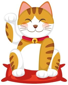 Gato de la suerte japonés maneki neko personaje de dibujos animados aislado