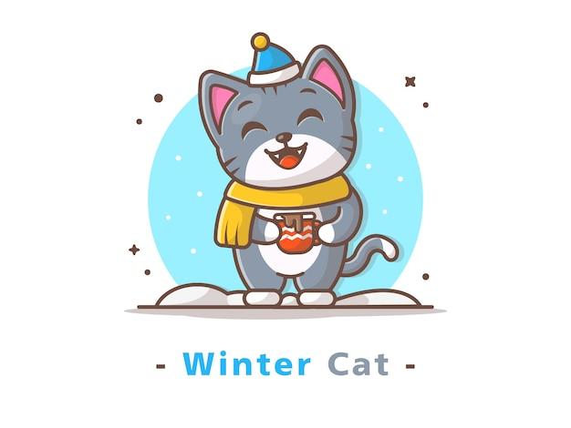 Gato en temporada de invierno