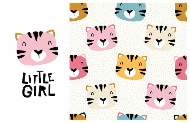 Gato tigre. niñita. cara linda de un animal con letras y patrones sin fisuras. impresión infantil para guardería, ilustración de dibujos animados en colores pastel.