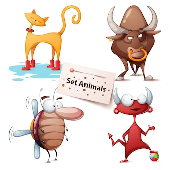 Gato, toro, cucaracha, diablo - set animales