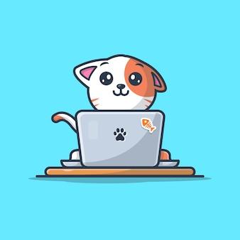 Gato trabajando en la ilustración del icono del logotipo del ordenador portátil