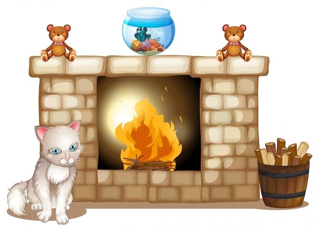 Un gato triste cerca de la chimenea.