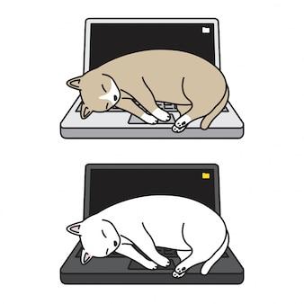 Gato vector gatito cuaderno durmiendo dibujos animados