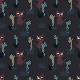 Gato y zombie de patrones sin fisuras.