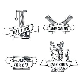 Gatos y accesorios conjunto de logotipos en estilo vintage.