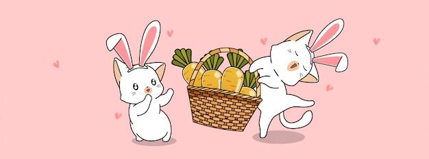 Gatos adorables llevan zanahorias en primavera