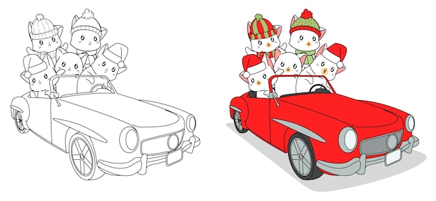 Gatos adorables en la página para colorear de dibujos animados de coche fácilmente para niños