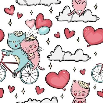 Gatos en bicicleta en las nubes. animales de dibujos animados del día de san valentín dibujados a mano de patrones sin fisuras