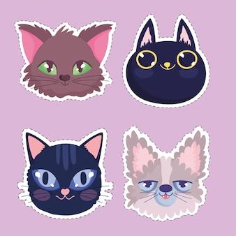 Gatos cabezas de dibujos animados animales felinos pegatinas mascotas ilustración vectorial