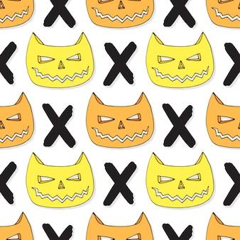 Gatos calavera de patrones sin fisuras. vector de fondo de halloween. hipster textil o papel de regalo
